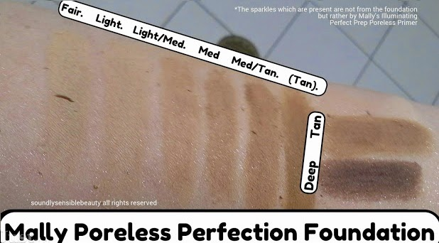 Mally Poreless Perfection Powder Foundation; Review & Swatches of Shades: Fair, Light, Light/Medium, Medium, Medium/Tan, Deep