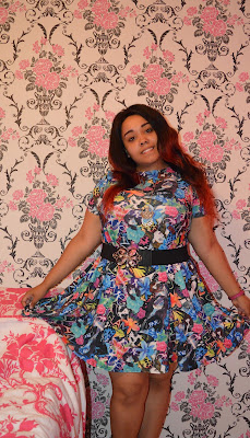 Blogger wearing Multicoloured Floral Cartoon All Over Print Swing Dress
