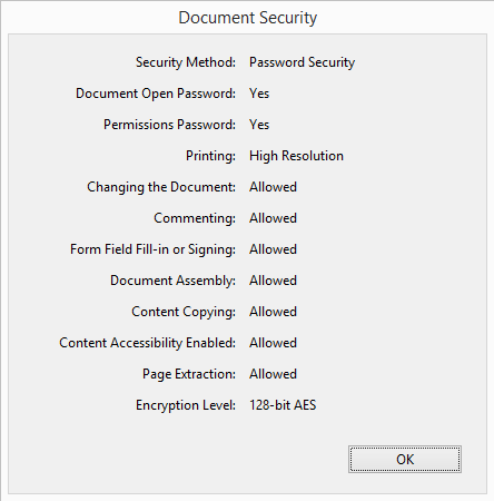 Pic. 3 Document security properties