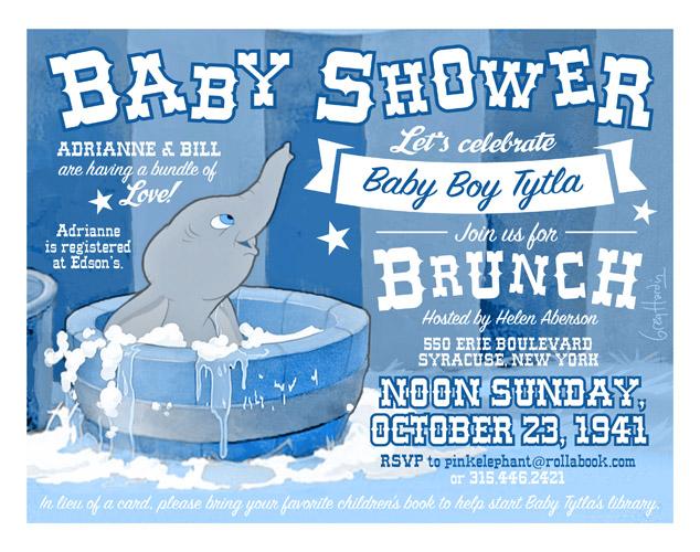 Marvelous Dumbo Baby Shower Invitation