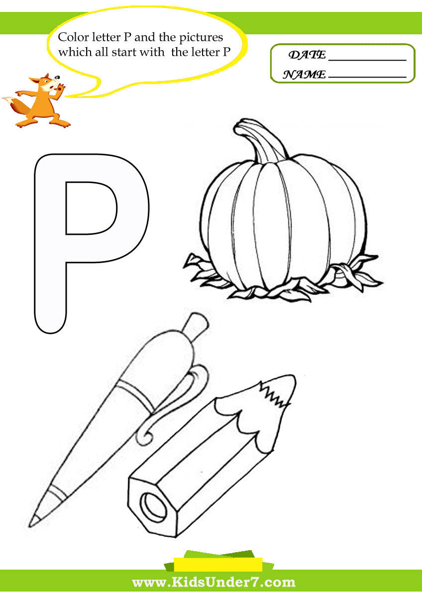Kids Under 7 Letter P Worksheets and Coloring Pages – Letter P Worksheets