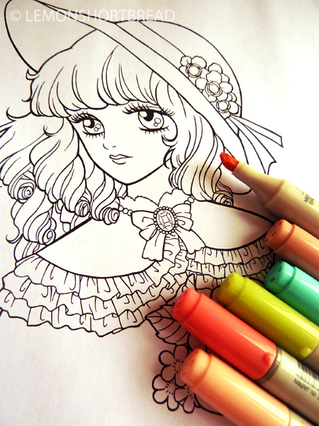 SHOUJO COLORING PAGES DIGITAL STAMPS