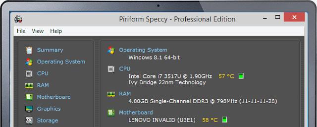 Speccy 1.28.709 Gratis Software Pembaca Spesifikasi