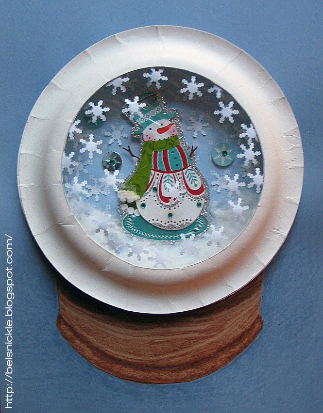 Craft a christmas paper plate snow globe belznickle for Snow globe craft for kids