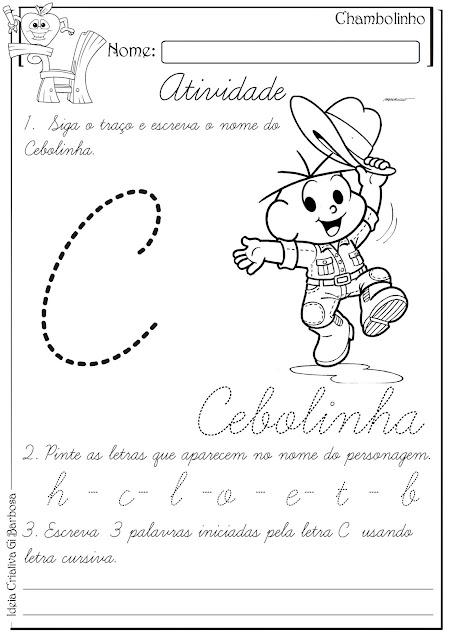 Atividade Letra C Cursiva Pontilhada