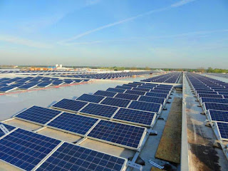 PV Panels on Warehouse Rooftop