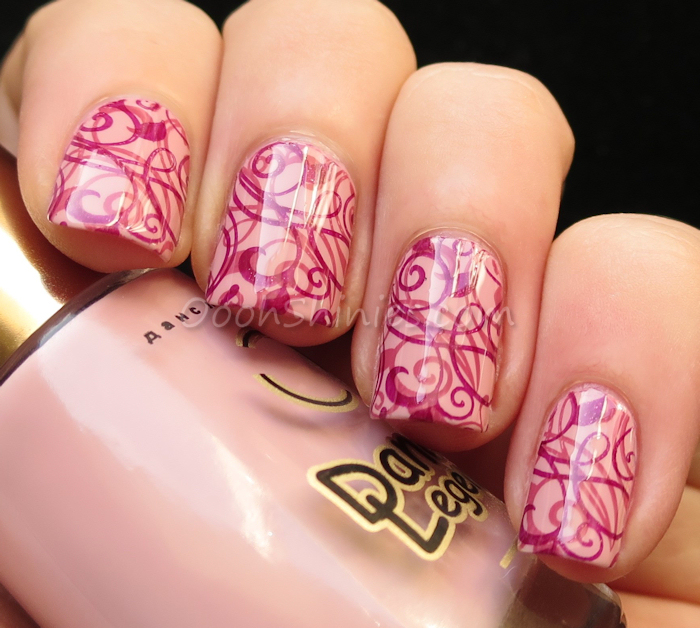 Dance Legend #1035 with CND Muddy Rose, Manhattan 46Q and UberChic Beauty plate UC-1-01