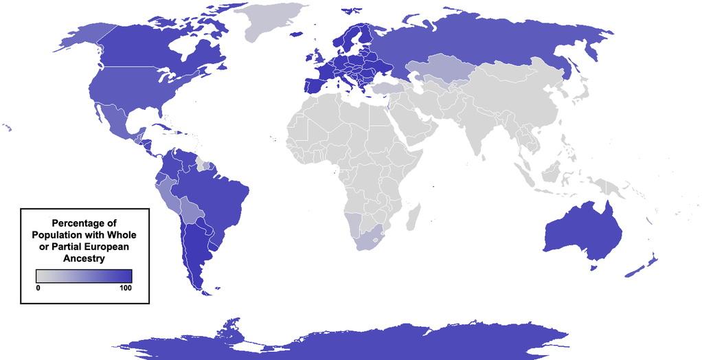 The global diaspora: European ancestry around the world.