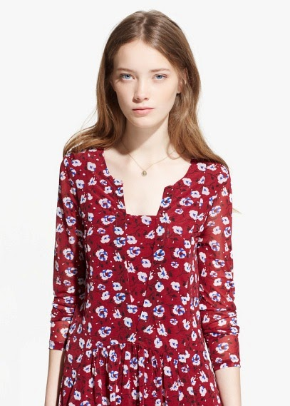 Mango 2015 Elbise Modelleri  çiçekli  kırmızı elbise