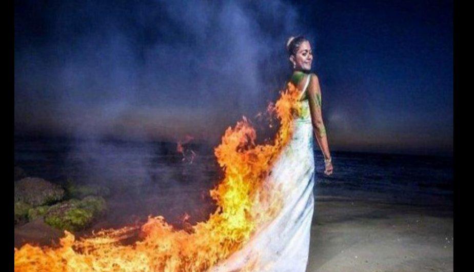 novia en llamas: el 'trash the dress' que casi termina en tragedia