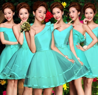 6-Design Satin Lace Bridesmaids Dress (Champagne/Turquoise)