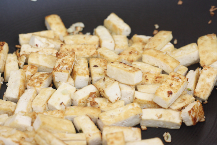 Pan frying tofu for fried rice