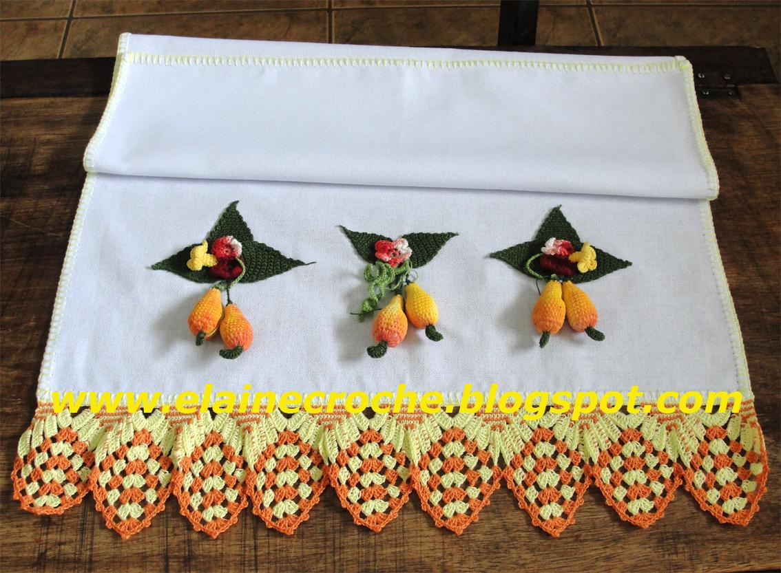Panos de Prato com Frutinhas e Barrados em Crochê