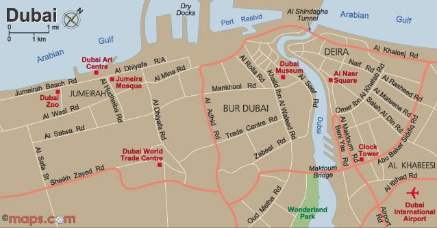 Dubai tourism hotels malls landmarks flights for Map of dubai hotels