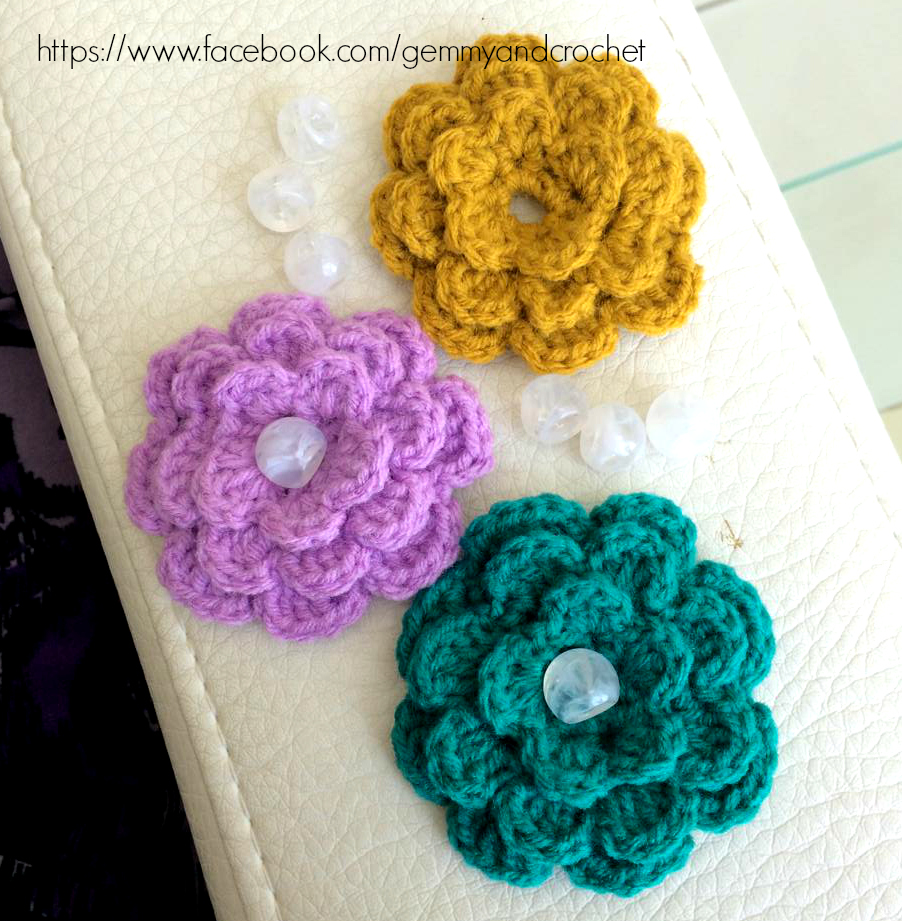 All Crochet : crochet flower, crochet flower accent, flower for embellishment ...
