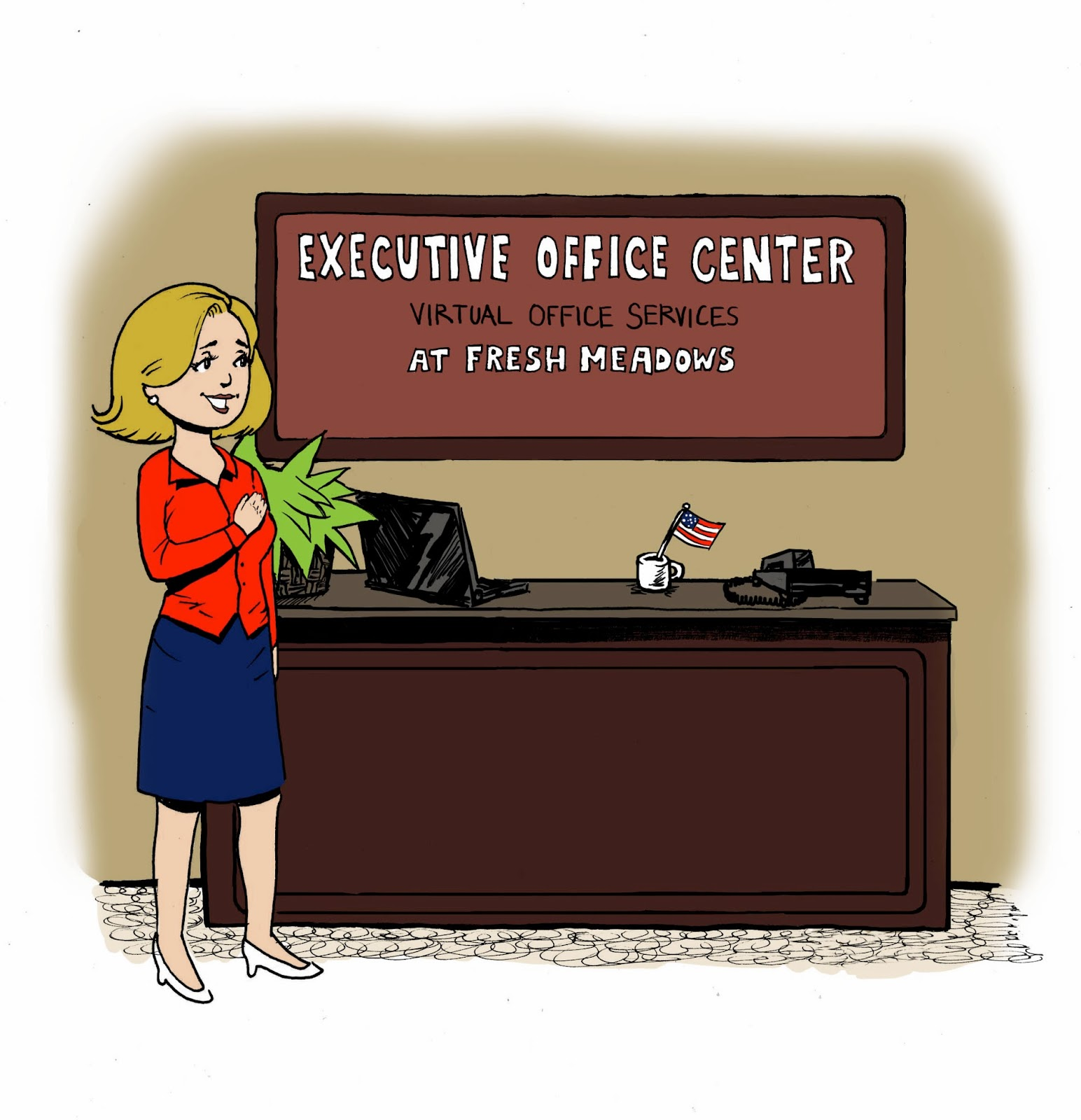 Receptionist pledges allegiance to the Executive Office Center at Fresh Meadows