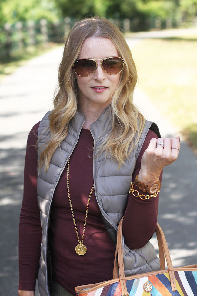 ray ban sunnies, mango vest, julie vos necklace
