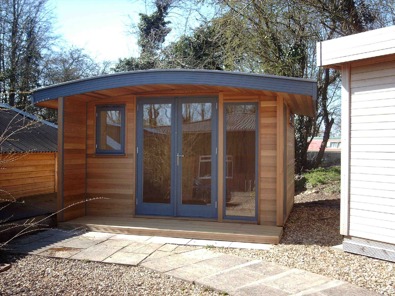 Shedworking curved roof garden office for Oeco garden office
