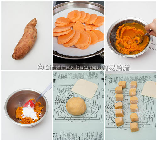 香蕉番薯餅製作圖 Sweet Potato Cakes with Banana Fillings Procedures01