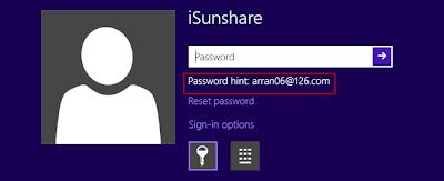 password hint reset windows 8 password