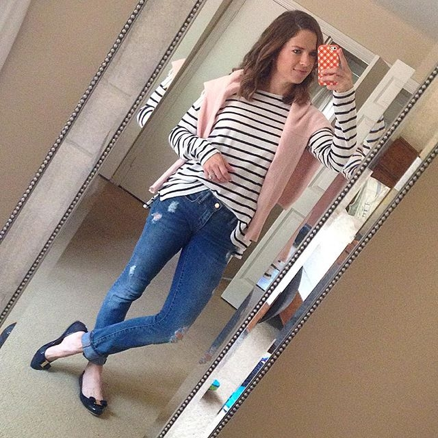 stripes and distressed denim