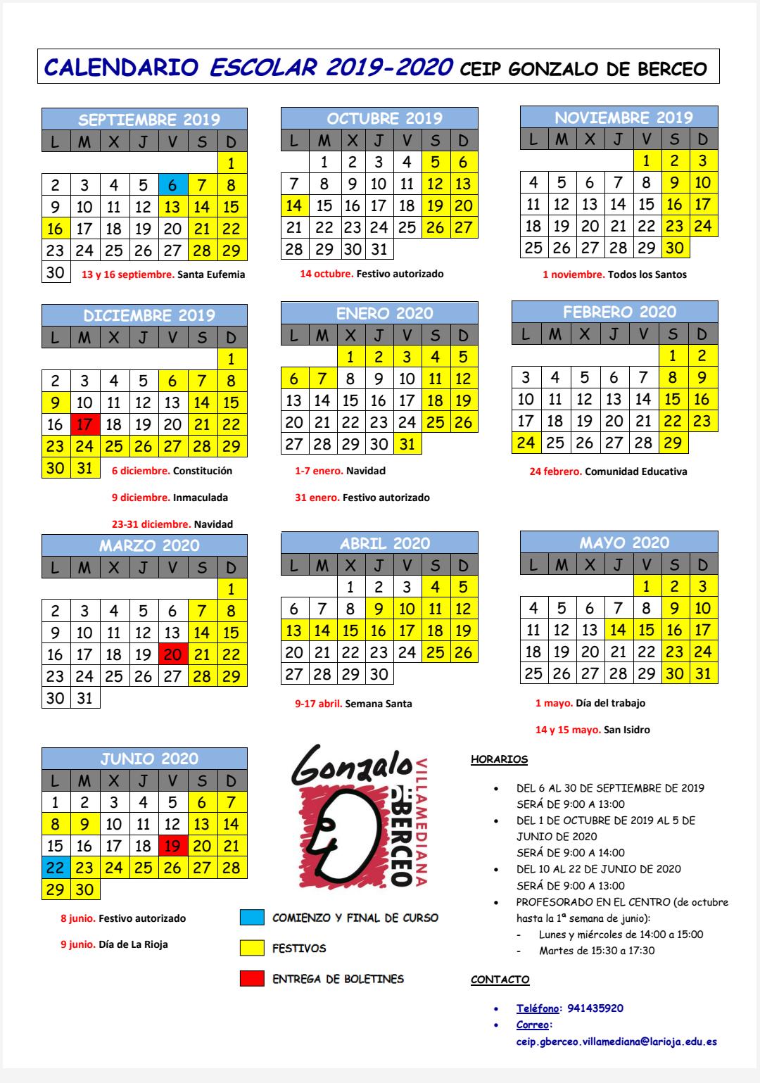 Calendario Curso 19/20