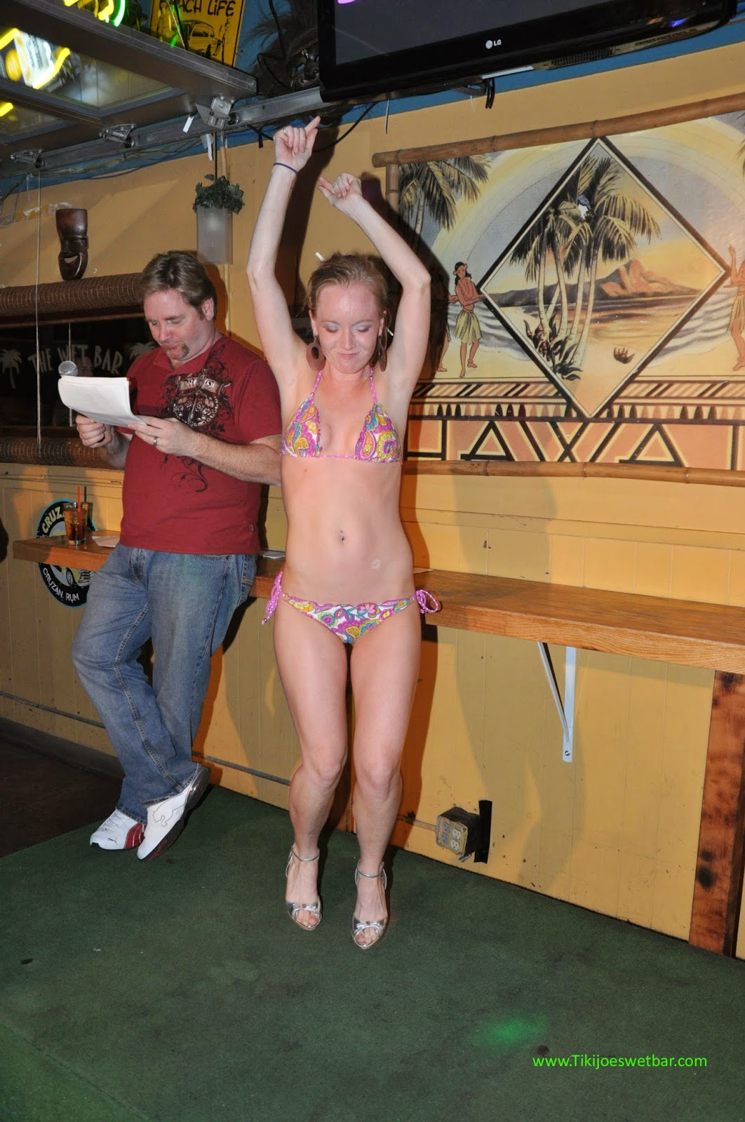 College girls at spring break bikini contests