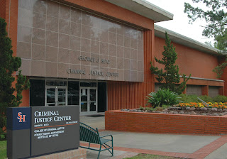 Front of SHSU College of Criminal Justice.