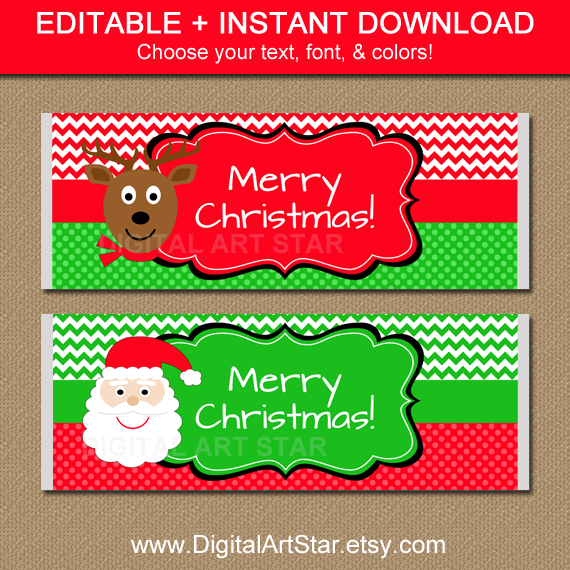 editable Christmas chocolate bar wrappers