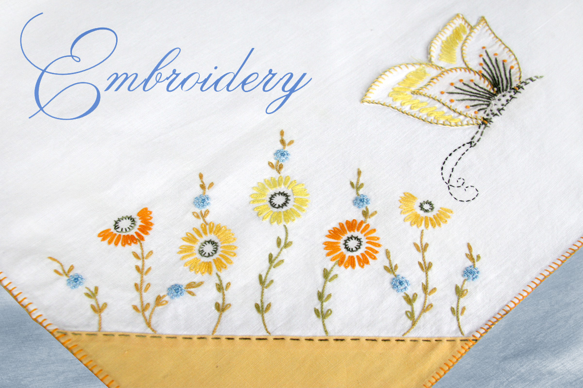 Nessy designs vintage embroidery tablecloth