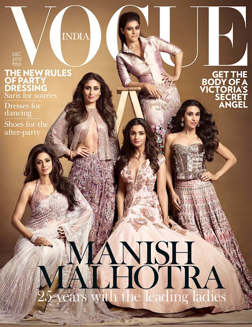 Sri Devi, Kareena Kapoor, Karisma Kapoor, Alia Bhatt, Kajol on Vogue India December 2015