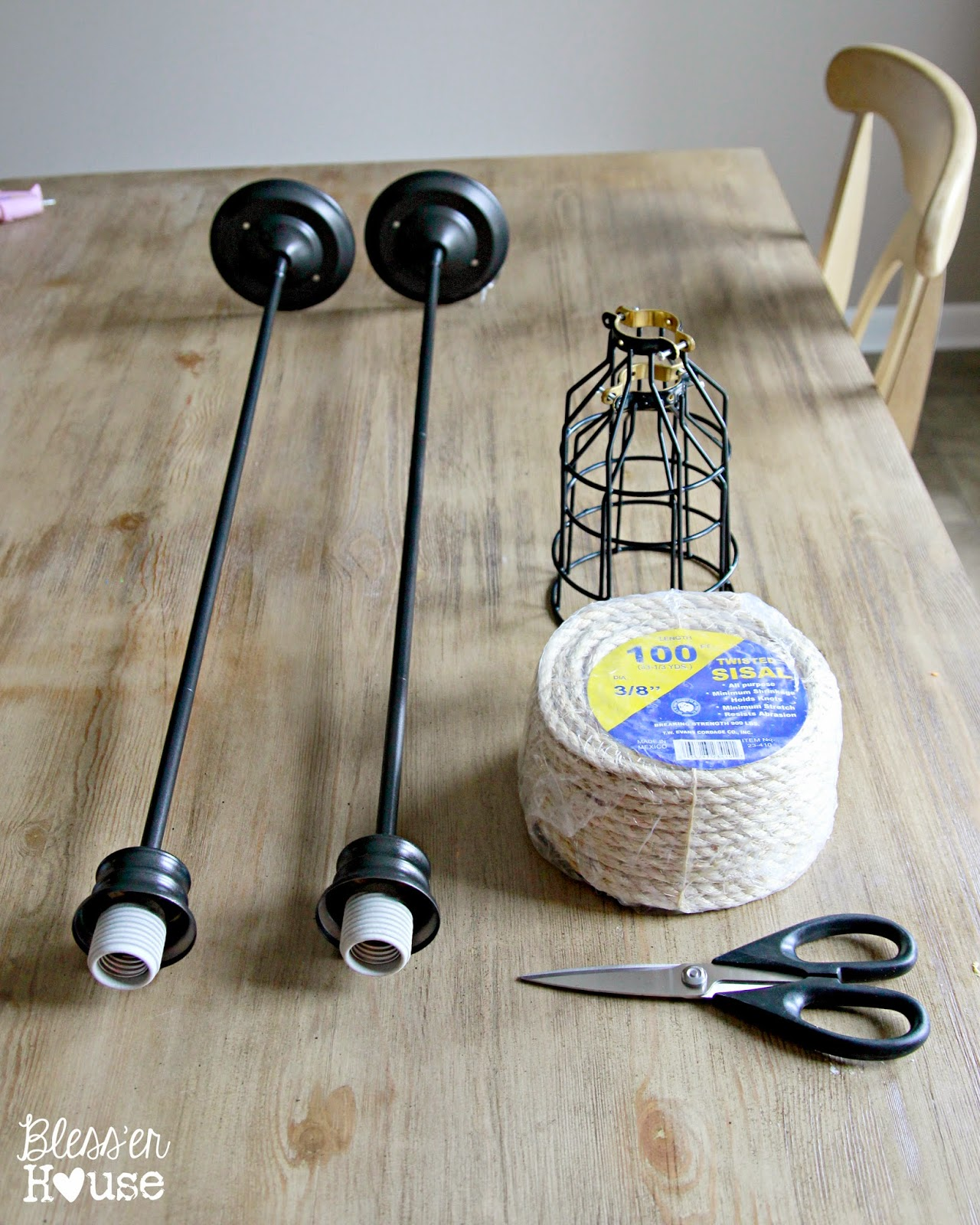 Diy industrial pendant light for under 10 bless 39 er house for How to make an industrial lamp