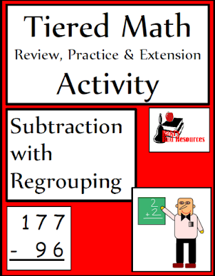 Free tiered math activity on subtraction with regrouping - three leveled activities and a quiz from Raki's Rad Resources.