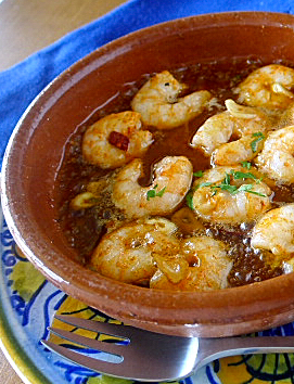 Gambas al ajillo —shrimp sizzled with garlic— this is the essence ...