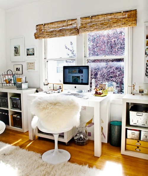 West Elm Parsons desk in white  IKEA Expedit shelves  From here. Pieces of Anna  My Dream Home Office  Inspiration
