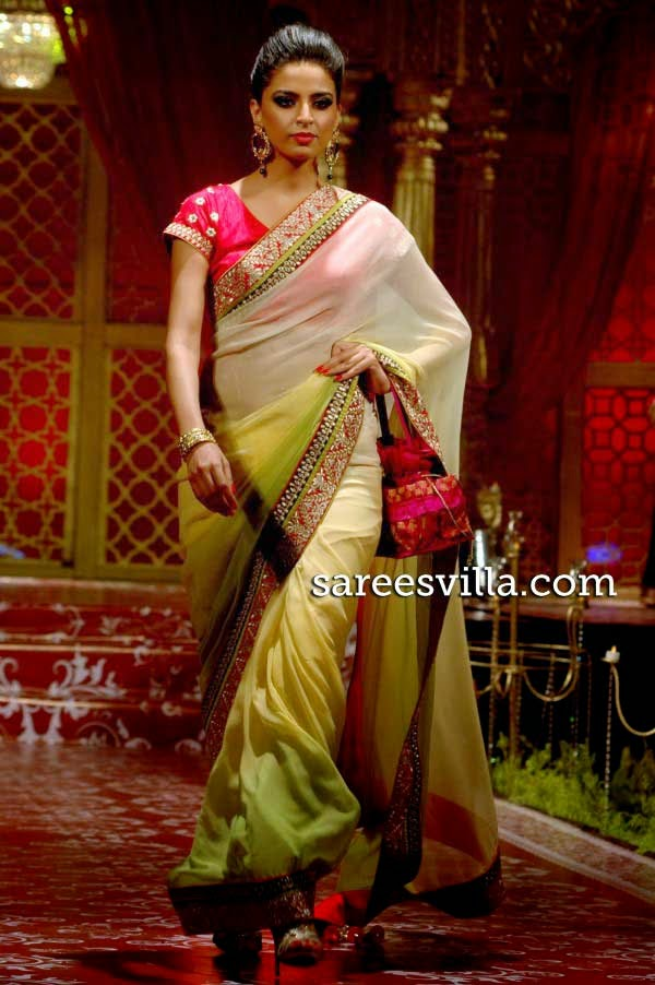 Model in designer shaded saree