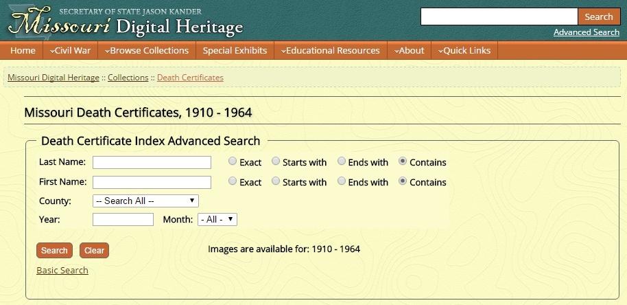 Ancestry Island: Fantastic Find: Missouri, Death Certificates, 1910 ...