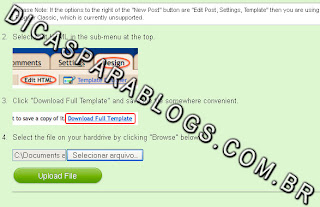 enviar template do blogger