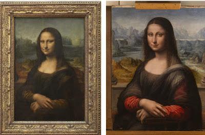 foto de la mona lisa original y la copia hermana del museo del prado en españa