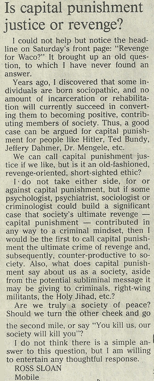 capital punishment jamaica essay Capital punishment -- pro essaysthesis statement: although the opponents of capital punishment believe this to be immoral and non-productive, advocates of capital punishment have proven this to be a cost effective, and ethically correct deterrent of future murders.