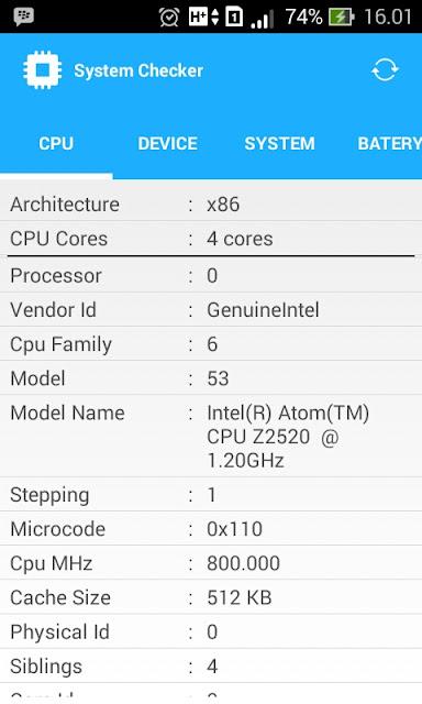 Tampilan info CPU ponsel