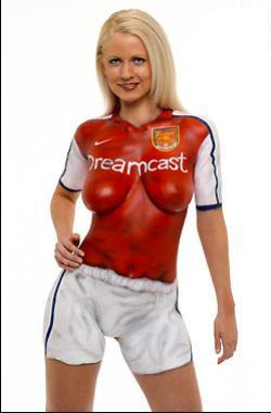 Sexy football body painting for hot women