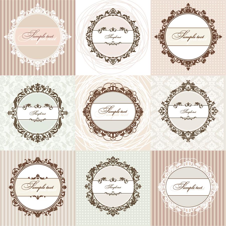 ヨーロッパ調の飾り枠フレーム european pattern background イラスト素材
