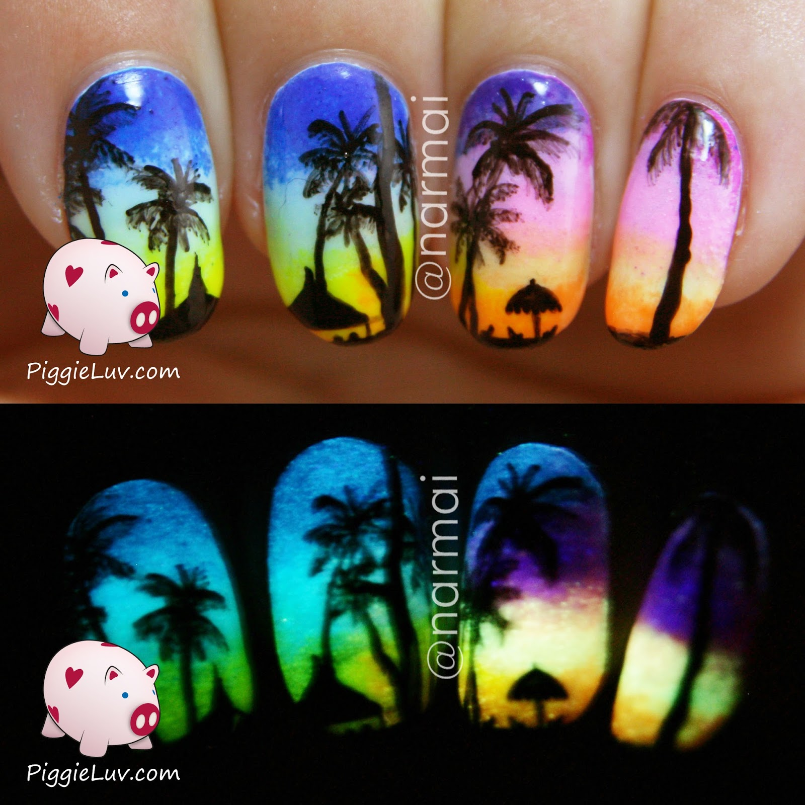 PiggieLuv: Tropical beach at sunset nail art (glow in the dark) + ...
