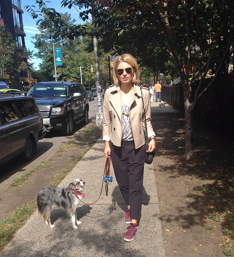Me & Wallyface, mini Aussie, blue merle, sporty weekend chic, Brooklyn, New York, street style