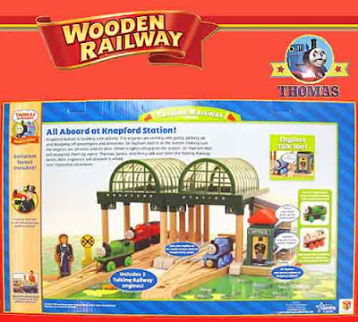 Listen to number one Thomas train Percy tank and James the red engine talk wooden railway train set