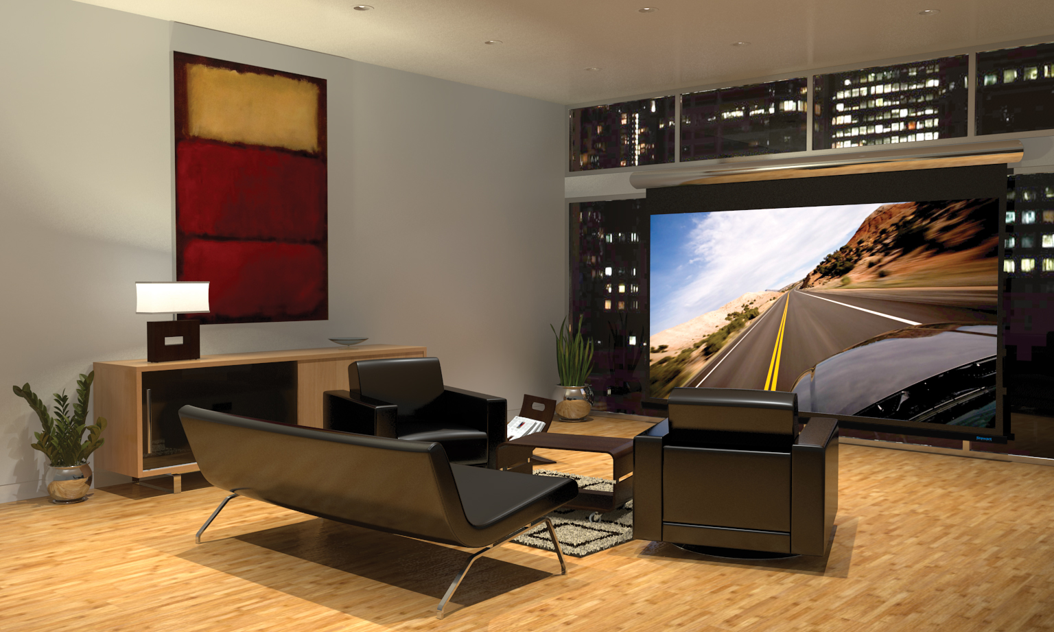 Studiomorado cuarto de entretenimiento entertainment room for Corner home theater furniture