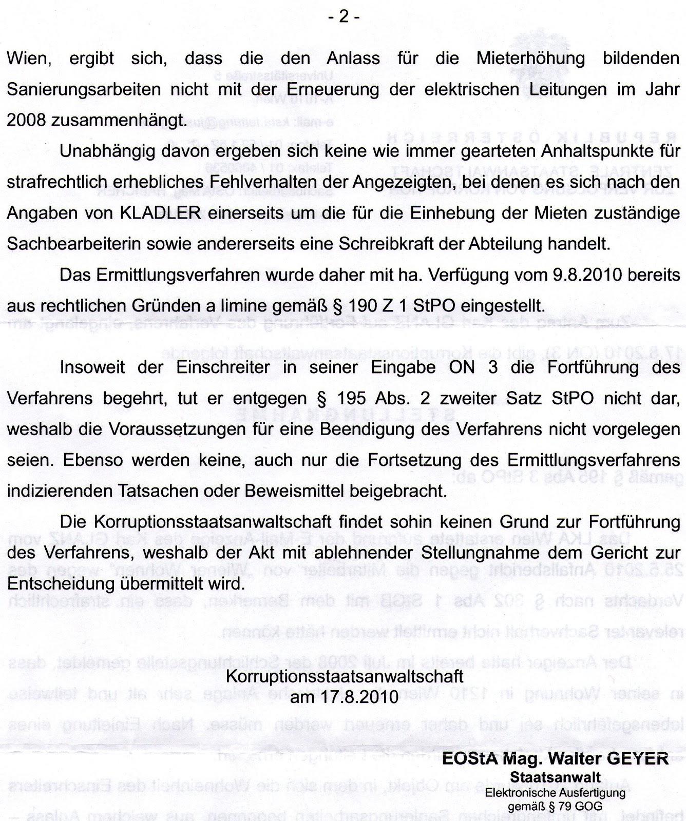 Wiener Wohnen Staatsanwaltgericht