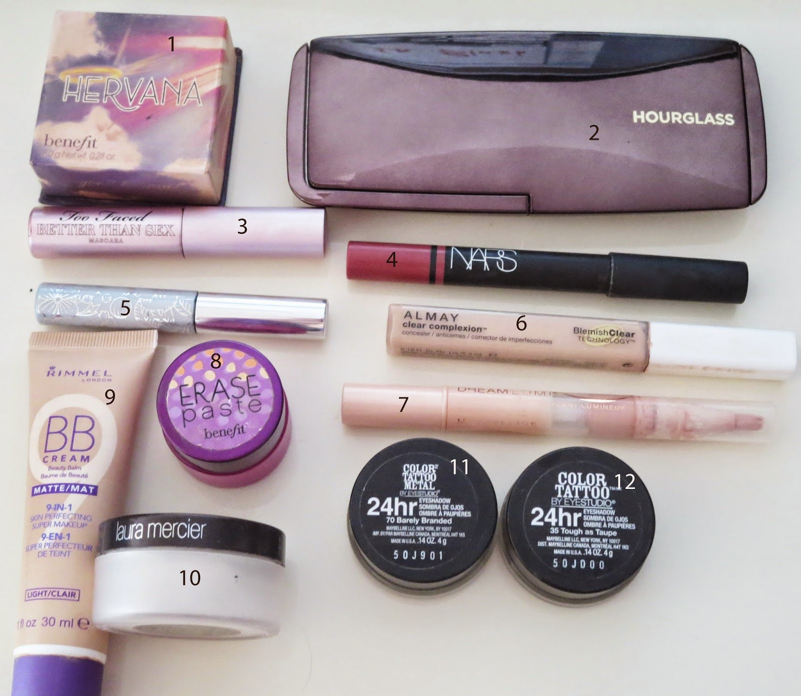 a picture of makeup products for a job interview ; benefit, hourglass, nars, too faced, rimmel, maybelline, laura mercier, almay