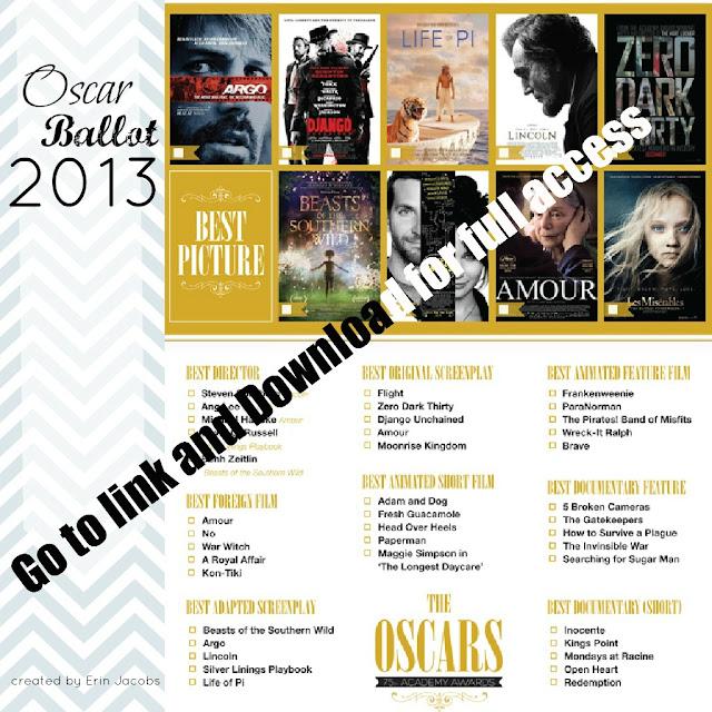 Free Printable Oscars Ballot